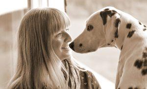 Dalmatinerhündin Emma und Ich. Herzliches Dank an Sabine Schneider für das schöne Foto von uns Beiden.