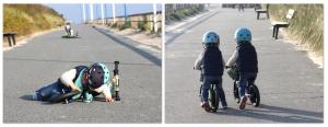 Die Zwillinge Alf und Ulf mit Ihren Strider Bike Laufrädern an der Promenade von Wittdün auf Amrum.