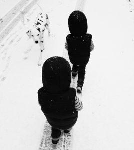 Unsere Zwillinge Alf und Ulf mit Emma im Schnee am spazieren