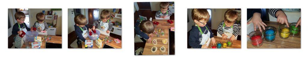 Die Zwillinge Alf und Ulf stellen selber Knete her und präsentieren Stolz ihr Ergebnis.