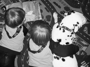 """Die Zwillinge Alf und Ulf lesen mit Dalmatiner Hündin Emma das Buch """"das verrückte Wiesen geflüster""""."""