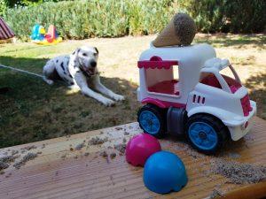Eiswagen mit Dalmatiner Hündin Emma