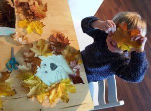 Tolle Herbst Beschäftigung. Alf und Ulf basteln bunte Blätter Bilder.